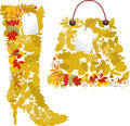 Boots and bags from autumn leaves. Royalty Free Stock Images