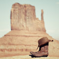 Boots and hat in Monument Valley Stock Photography