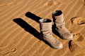 Boots the pair of in desert Royalty Free Stock Image