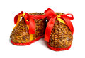 Boots a pair of handmade weaving with red ribbon Royalty Free Stock Photos