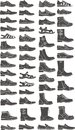 Boots set of a man shoe silhouettes Royalty Free Stock Photography