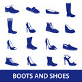 Boots and shoes icons eps10 Royalty Free Stock Photo