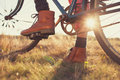 Boots and vintage bike female Royalty Free Stock Photo