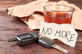 Booze in glass, car keys, paper message. Royalty Free Stock Photo
