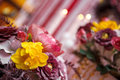 Boquet of flowers the on arranged table Royalty Free Stock Images