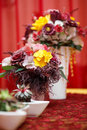 Boquet of flowers the on arranged table Stock Image