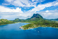 Bora bora aerial photo of french polynesia shot from a heli Stock Photos