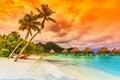 Bora bora french polynesia otemanu mountain beach and palm trees Stock Photography