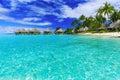 Bora bora french polynesia over water bungalows of luxury tropical resort island near tahiti pacific ocean Royalty Free Stock Photo