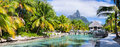 Bora bora panorama of a beautiful coast with otemanu mountain view on island Royalty Free Stock Image