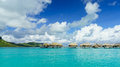 Bora bora panoramic beautiful view of and the famous bungalows Royalty Free Stock Photography