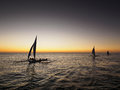 Boracay Sunset Sailing Royalty Free Stock Photo