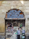 Bordeaux gironde france september graffiti covered archw archway in on Royalty Free Stock Image