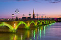 Bordeaux at a summer night cityscape of Royalty Free Stock Photography