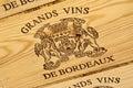 Bordeaux wine label Royalty Free Stock Photo