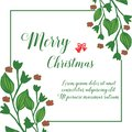 Border of banner merry christmas, with green leafy flower frame, isolated on white background. Vector