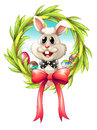 A border with a bunny and a big ribbon illustration of on white background Stock Photo