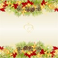 Border Christmas and New Year decoration festive golden and red leaves poinsettia three and fir tree branch pine cones and golden