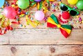 Border of colorful party accessories Royalty Free Stock Photo