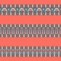 Border decoration elements patterns. Set of horizontal ornaments made in fashionable colors of 2019