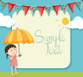 Border design with girl and umbrella Royalty Free Stock Photo