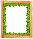 A border design made of wood and green leaves illustration on white background Stock Images