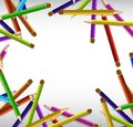 Border design with sharp color pencils in many colors Royalty Free Stock Photo