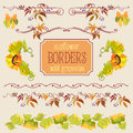 Border elements set with sunflower and grape Royalty Free Stock Photo