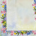Border of flowers with lace on vintage background Royalty Free Stock Photo