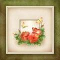 Border frame background flower butterfly design Royalty Free Stock Photo