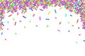 Border frame of colorful sprinkles isolated on white Royalty Free Stock Photo