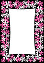 Border frame with pink and white flowers Stock Photo