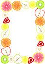 Border frame with sliced fruit inner space to write message or menu Stock Photo