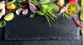 Border of fresh fruit , vegetables and herbs Royalty Free Stock Photo