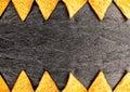 Border of golden crisp nachos Royalty Free Stock Photo