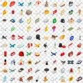 100 border icons set, isometric 3d style