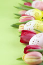 Flowery Easter eggs and tulips border Royalty Free Stock Photo