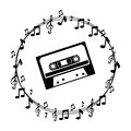 Border musical notes with cassette tape Royalty Free Stock Photo