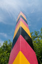 Border post marks the german border on betweeen germany and poland in east of brandenburg country germany Stock Image