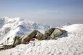 Border post in tatra mountains near zakopane poland Royalty Free Stock Images