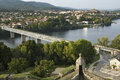 Border river bridge between portugal and spain panoramic view over the minho the that connects the spanish city tui with the Stock Images