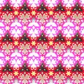 Border seamless geometric floral vector pattern in pink, red, white and black