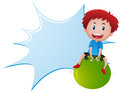 Border template with boy on green ball Royalty Free Stock Photo