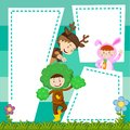 Border template with kids in costume