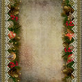 Borders of Christmas decorations with lace on vintage background