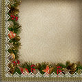 Borders of christmas decorations with lace on vintage background a place for text or photo Royalty Free Stock Images