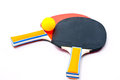 Bordtennisracket och ping pong ball Arkivfoto