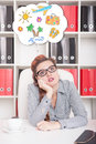 Bored business woman dreaming about holiday overwork concept in office Stock Images