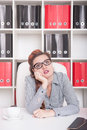 Bored business woman overwork concept working in office Stock Photo