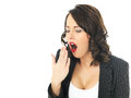 Bored Business Woman Yawning Royalty Free Stock Photo